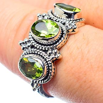 Peridot Ring Size 8.25 (925 Sterling Silver)  - Handmade Boho Vintage Jewelry RING26385