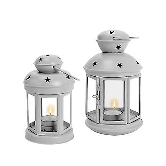 Nicola Spring Candle Lanterns Tealight Holders Metal Hanging Indoor Outdoor - Grey - Set of 2