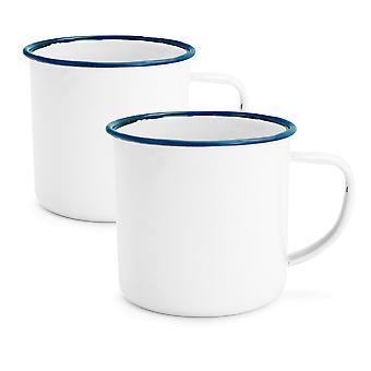 Rink Drink White Émail Coffee / Teacups - 240ml - Blue Trim - Pack de 2