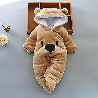 Newborn Baby Girl Cartoon Bear Kombinezon - Gruby Ciepły Romper
