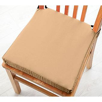 Beige 2pk Seat Pad Cushions with Secure Fastening Dining Kitchen Chairs Soft Cotton Twill