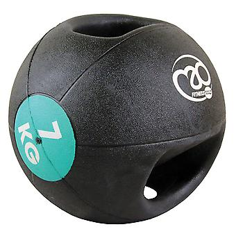 fitness mad 7kg double grip medicine ball light blue strength training exercise