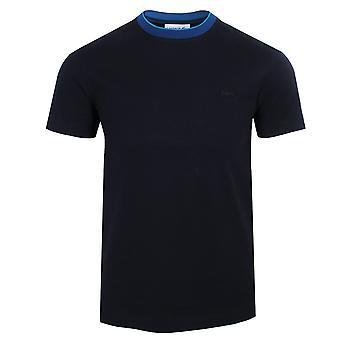 Lacoste men's navy collar detail t-shirt