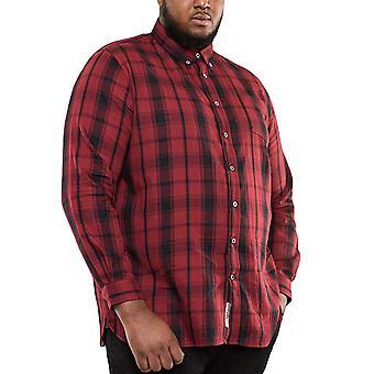 Duke D555 Mens Big Tall King Storlek Benalla Kontrolleras Bomullsskjorta - Röd / Svart Check