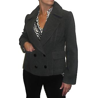 Women's Double Breasted Crop Jacket Ladies Smart Winter Thick Wool Feel Button Long Sleeve Short Coat Grey Size 12