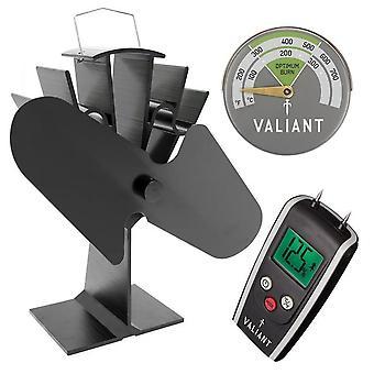 Brændeovn effektivitet pakke (omfatter komfur fan, termometer og fugt meter)