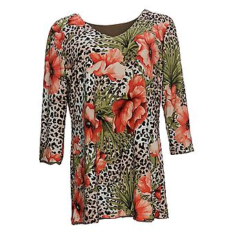 Attitudes by Renee Women's Top Reversible Printed Tunic Brown A366216