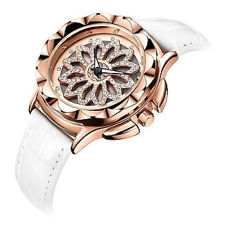 MEGIR 2059 Leather Diamond Decoration Rotate Dial Luminous Display Ladies Quartz