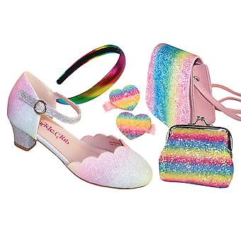 Girls pastel rainbow colours sparkly shoes - Gift Set
