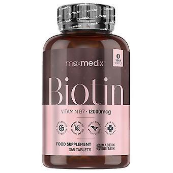 Maxmedix Biotin Tablets - 12,000mcg 365 Tablets with Vitamin B7 - For Thinning Hair