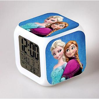 Frozen Elsa Queen, Princess Anna Led Mood Square Horloge rechargeable