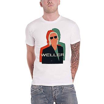Paul Weller T Shirt Illustration Offset Logo new Official Mens White