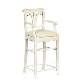 Dolls House White Breakfast Bar Stool High Chair Jbm Kitchen Furniture