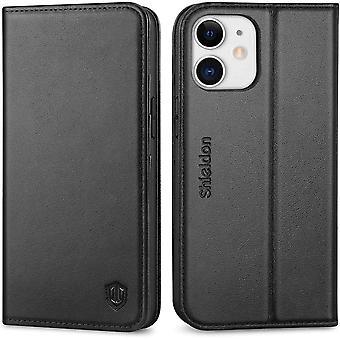 SHIELDON iPhone 12 Mini Case, Protective Genuine Leather Wallet Case [RFID Blocking][TPU Shell]