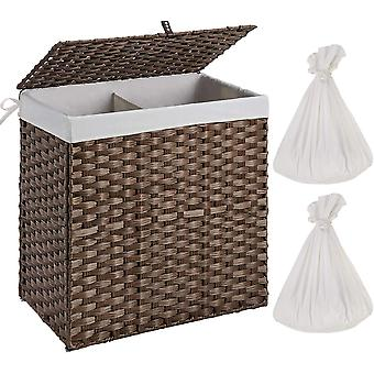 Greenstell Handwoven Laundry Basket with Removable Liner Bag,Rattan Wicker Laundry Hamper