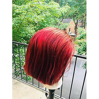 Vietnam Hair 13x4 Colored Human Hair Wigs 1b/burgundy 250% Density