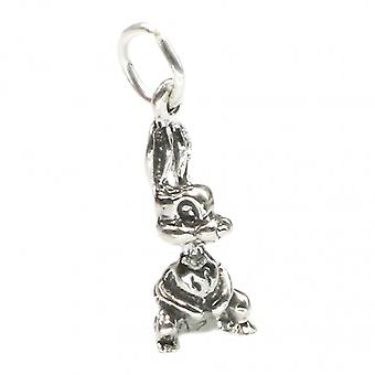 Rabbit Tiny Sterling Silver Charm .925 X 1 Easter Bunny Rabbits Charms - 2603