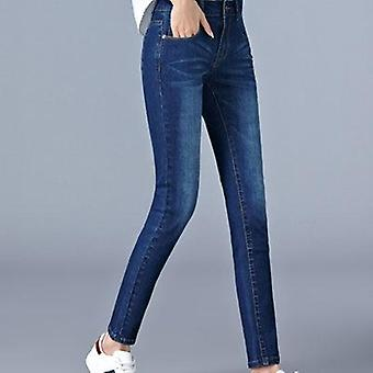 מותניים גבוהים בתוספת גודל באורך מלא רזה עיפרון שחור כחול מכנסי ג'ינס לאישה