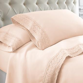 Udine 4 Piece Queen Size Microfiber Sheet Set With Crochet Lace The Urban Port, Pink