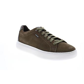 Geox U Deiven Mens Green Suede Lace Up Euro Sneakers Chaussures