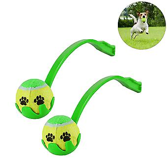 2 x Green Launch It Set Dog Fetch Tennis Ball Outdoor Activity Play Long Distance Launcher Exercise