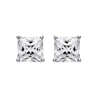 Jewelco London Ladies Rhodium Plated Sterling Silver Princess Cut Cubic Zirconia 4 Claw Solitaire Stud Boucles d'oreilles 11mm