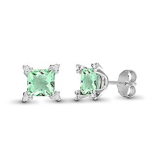Jewelco London 18ct White Gold 3 Claw Set H I1 0.1ct Diamond et Princess Green 2.1ct Amethyst Square Stud Boucles d'oreilles