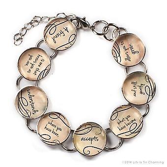 A Friend Is - Glass Friendship Charm Bracelet With Heart Charm