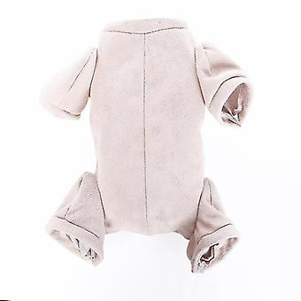Handmade Doe Suede Fabric Warm Jumpsuit With Hoodie For 16-22 Inches Baby Doll
