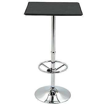HOMCOM Bar Table Square Pub Table Counter with Faux Leather Tabletop and Adjustable Footrest for Living Room, Kitchen