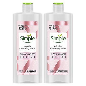 2x av 400ml Enkel sort till hud make-up remover Micellar rengöring vatten