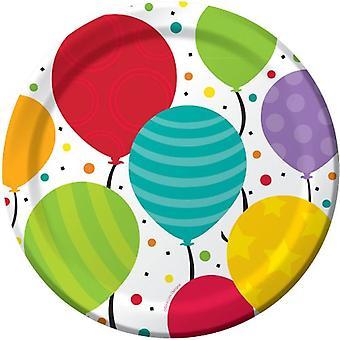 Plt9 12/8Ct Shimmering Balloon Plates