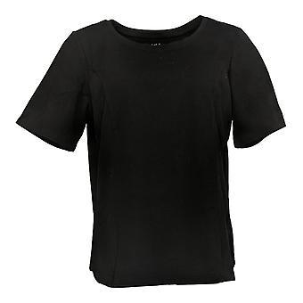 Bob Mackie camiseta femenina 's Essentials Scoop Cuello Manga Corta Negro A344136