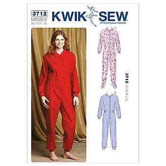 Kwik Sew Sewing Pattern 3712 Misses Pajamas One Piece Size XS-XL
