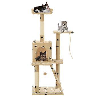 vidaXL macska karcolás post sisal 120 cm bézs mancs nyomtatás