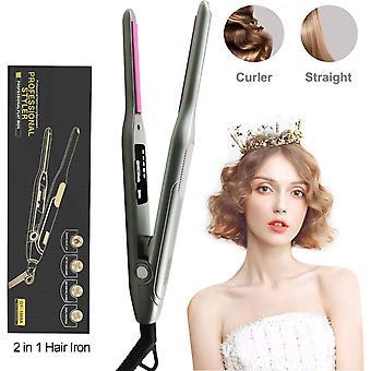 מחליק שיער מקצועי, 2 ב 1 מחליק תלתל שיער, חום מהיר טמפרטורה מתכווננת 150 °C -232 °C (70 °F), עבור כל סוגי השיער, שיער קצר, פוני, זכר זקן