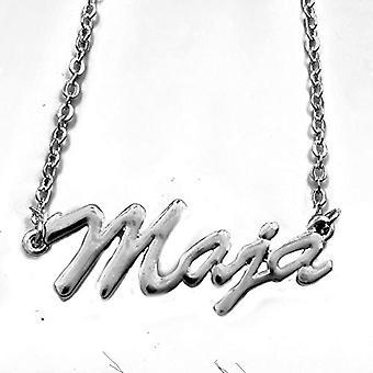 KL Maja - 18 karat hvidguldbelagt halskæde, med brugerdefineret navn, justerbar længde 16-19 cm