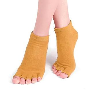 Non-Slip Open Toe Cotton Yoga Socks with Grips for Women Pilates Ballet Dance Workout Sports Socks
