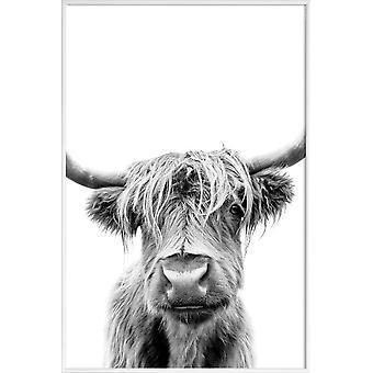 Juniqe Print - Debajo de las cejas levantadas - Cartel de vacas en blanco y negro