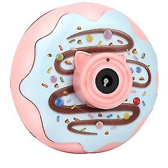 12.5*7*12.5Cm pink bubble blowing toys donut bubble machine electric light and music automatic bubble blowing camera children's toy az19245
