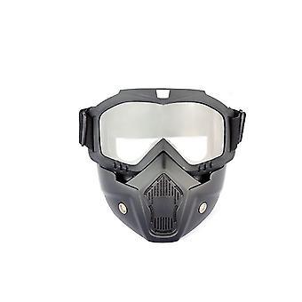 Casque de moto transparent avec masque facial amovible dt4845
