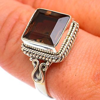 Smoky Quartz Ring Size 9.75 (925 Sterling Silver)  - Handmade Boho Vintage Jewelry RING66253