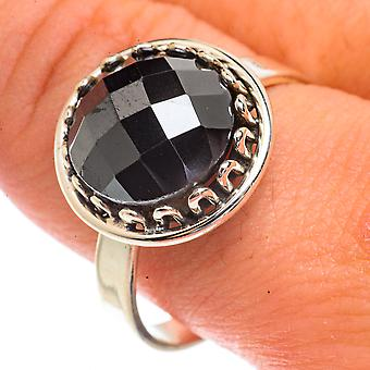 Black Onyx Ring Size 11.25 (925 Sterling Silver)  - Handmade Boho Vintage Jewelry RING66338