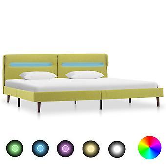 vidaXL sommier avec tissu vert LED 180x200 cm