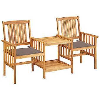 vidaXL حديقة الكراسي مع طاولة الشاي ووسادة السنط الخشب الصلب