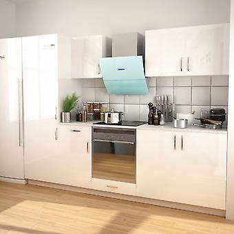 vidaXL 7 أجهزة الكمبيوتر الشخصية. مطبخ صغير مجموعة مع غطاء محرك السيارة مستخرج عالية اللمعان الأبيض