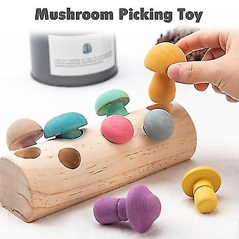 Wooden Rainbow Blocks Mushroom Picking Game Montessori Wooden Educational Toys For Babies