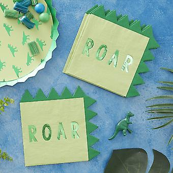 Dinosaur Paper Party Napkins Foiled x 16 Partyware