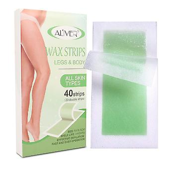 Hair Removal Wax Strips For Leg & Body, Waxing Kit With 40 Strips