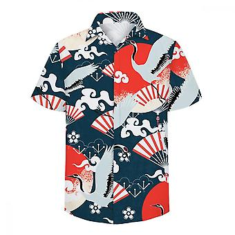 ユンユン メン&アポス;s クレーンファン 3D 半袖カジュアルシャツ